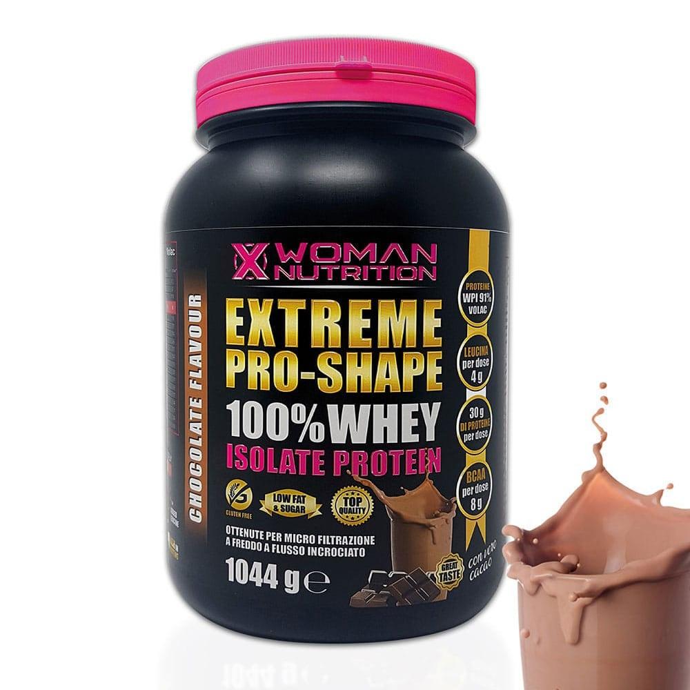 XWoman Nutrition - Extreme Pro-Shape Whey Isolate Protein 100% 1044 g – Cioccolato - perfetto per il recupero post workout - Integratore Alimentare