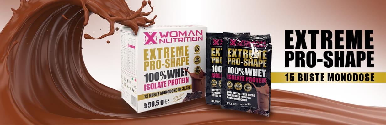 XWoman Nutrition - EXTREME PRO SHAPE - Scatola Monodose - 15 Buste - Gusto Cacao - Integratore Alimentare