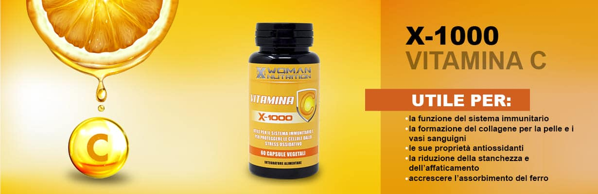 XWoman Nutrition - Vitamina C - X1000 - Utile per il sistema immunitario e per proteggere le cellule dallo stress ossidativo - Integratore Alimentare