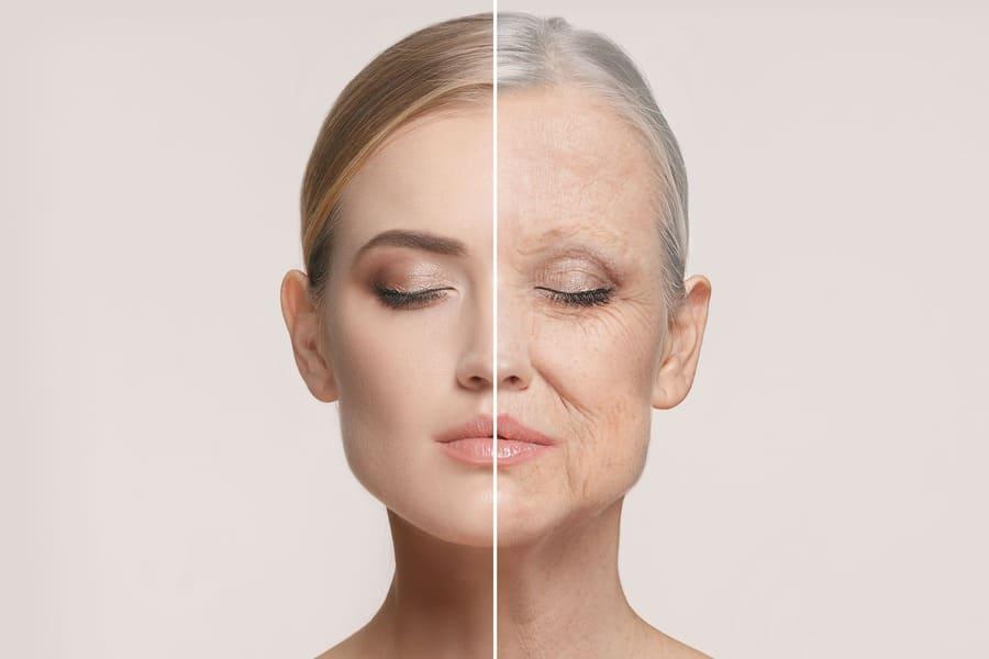 Viso metà di una donna giovane e metà di una donna anziana e rugosa