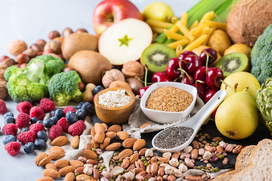 frutta secca, frutta fresca e verdura